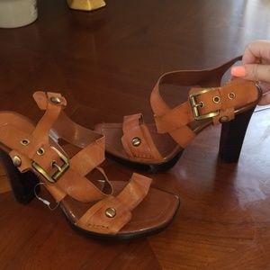 Nine West burnt orange leather strappy heels